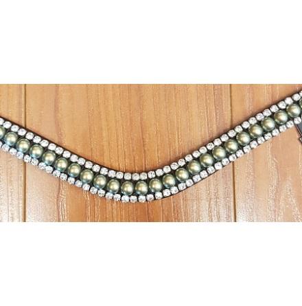 Montar Pannband Dusty Green Swarowski pearl
